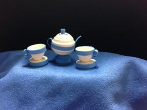 Tea set- white & blue
